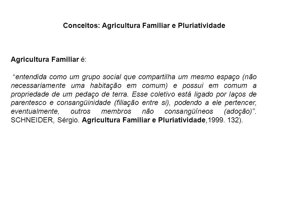 """Agricultura Familiar é: """"entendida como um grupo social que compartilha um mesmo espaço (não necessariamente uma habitação em comum) e possui em comum"""