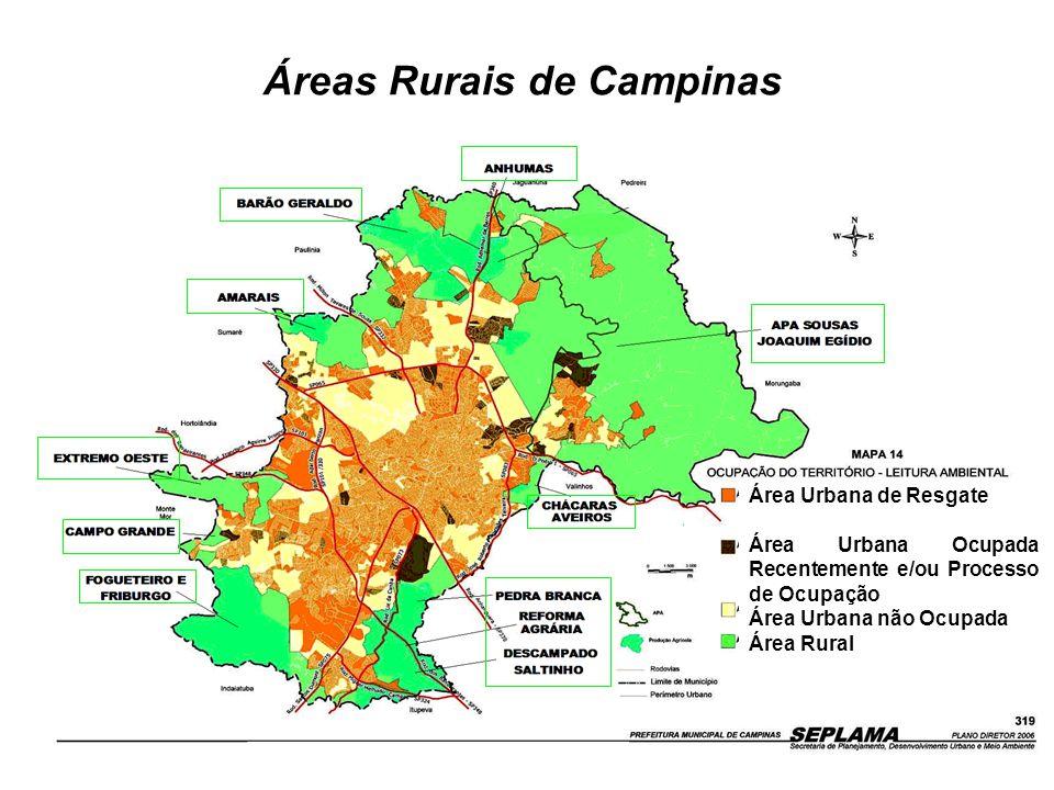 Áreas Rurais de Campinas Área Urbana de Resgate Área Urbana Ocupada Recentemente e/ou Processo de Ocupação Área Urbana não Ocupada Área Rural