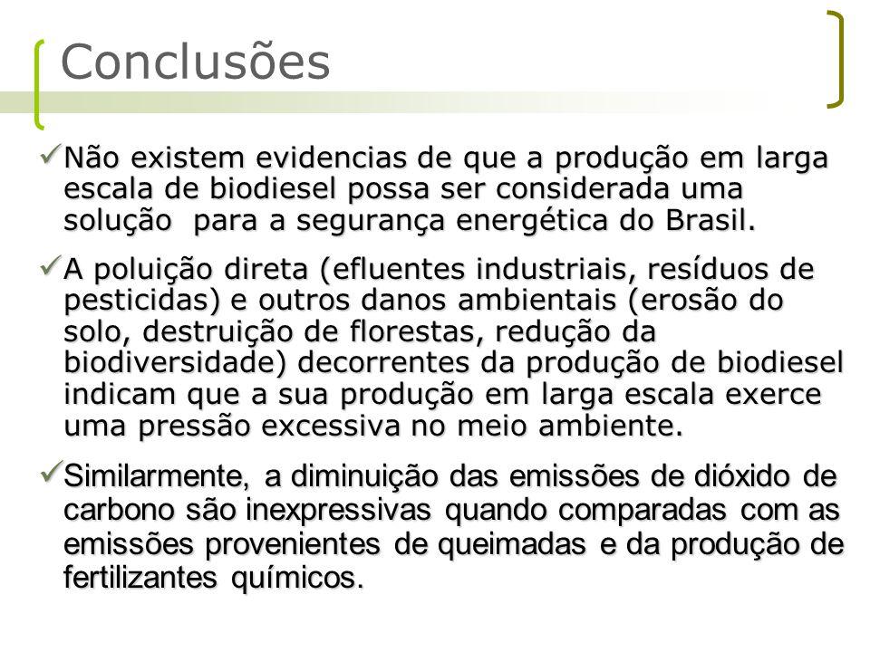 Não existem evidencias de que a produção em larga escala de biodiesel possa ser considerada uma solução para a segurança energética do Brasil. Não exi