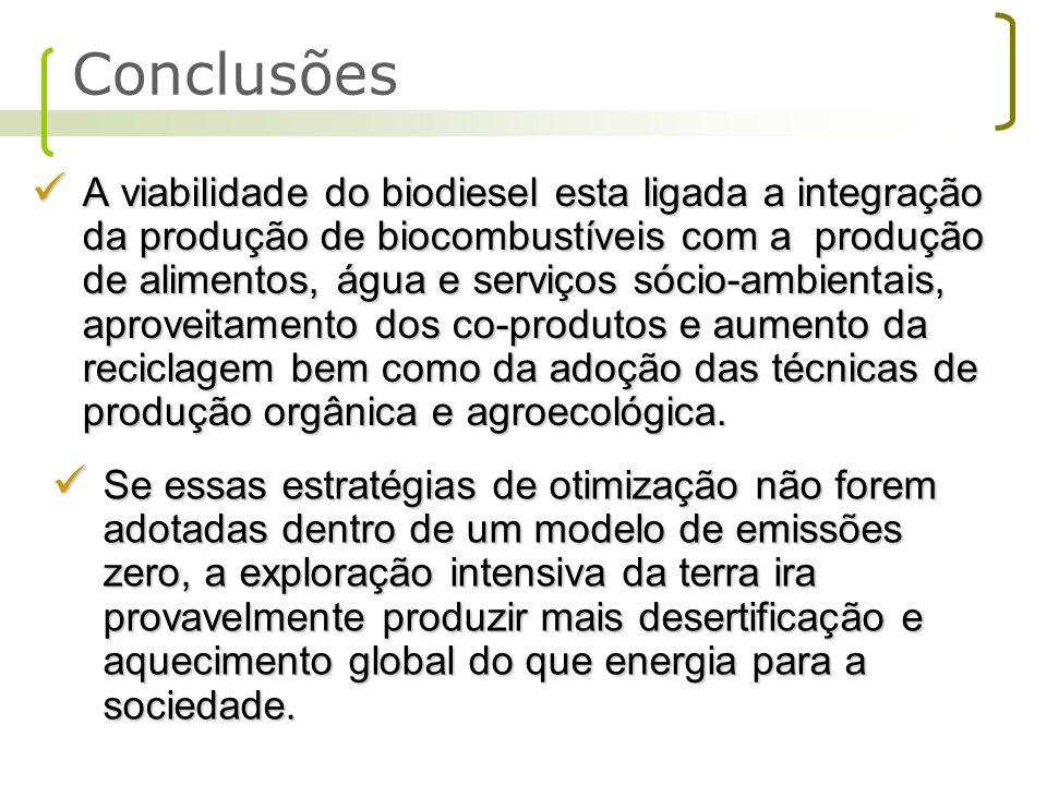 A viabilidade do biodiesel esta ligada a integração da produção de biocombustíveis com a produção de alimentos, água e serviços sócio-ambientais, apro