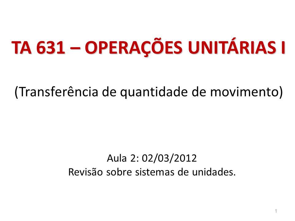 Aula 2: 02/03/2012 Revisão sobre sistemas de unidades. TA 631 – OPERAÇÕES UNITÁRIAS I TA 631 – OPERAÇÕES UNITÁRIAS I (Transferência de quantidade de m