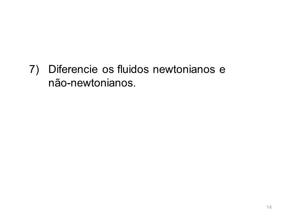 7) Diferencie os fluidos newtonianos e não-newtonianos. 14