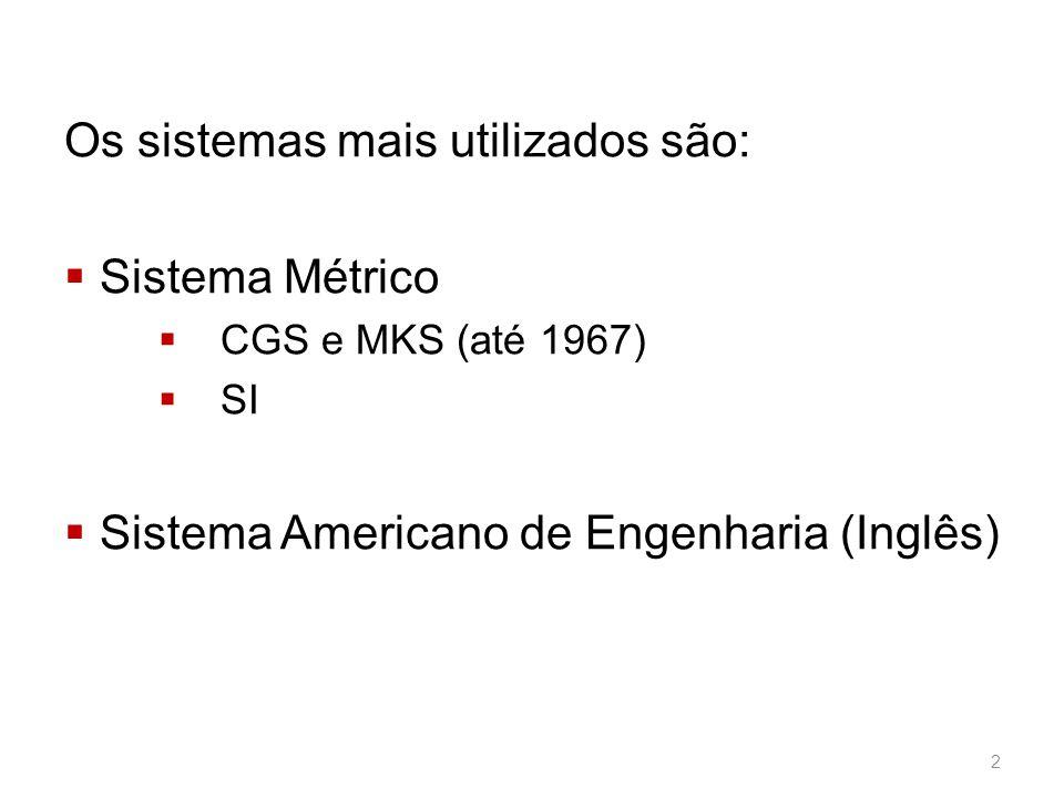 Os sistemas mais utilizados são:  Sistema Métrico  CGS e MKS (até 1967)  SI  Sistema Americano de Engenharia (Inglês) 2