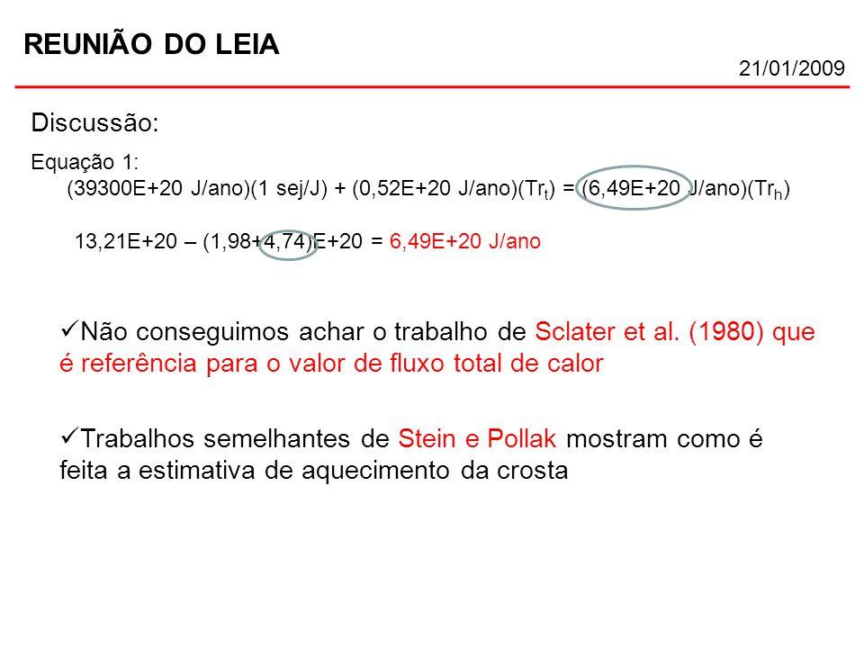 REUNIÃO DO LEIA 21/01/2009 Discussão: Não conseguimos achar o trabalho de Sclater et al. (1980) que é referência para o valor de fluxo total de calor