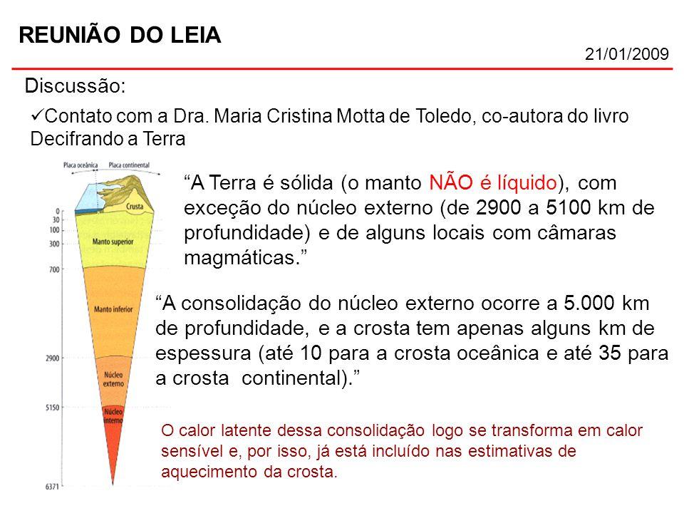 """REUNIÃO DO LEIA 21/01/2009 Discussão: Contato com a Dra. Maria Cristina Motta de Toledo, co-autora do livro Decifrando a Terra """"A Terra é sólida (o ma"""