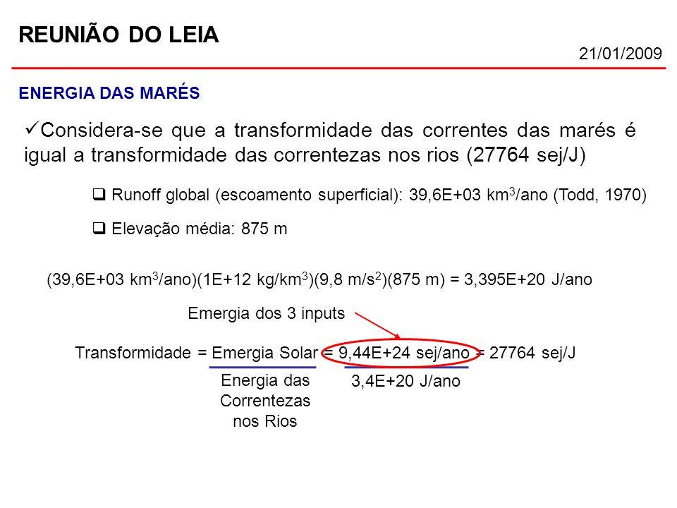 REUNIÃO DO LEIA 21/01/2009 ENERGIA DAS MARÉS Considera-se que a transformidade das correntes das marés é igual a transformidade das correntezas nos ri