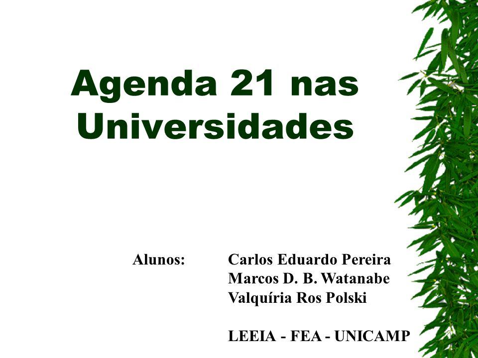 Agenda 21 nas Universidades Alunos: Carlos Eduardo Pereira Marcos D. B. Watanabe Valquíria Ros Polski LEEIA - FEA - UNICAMP