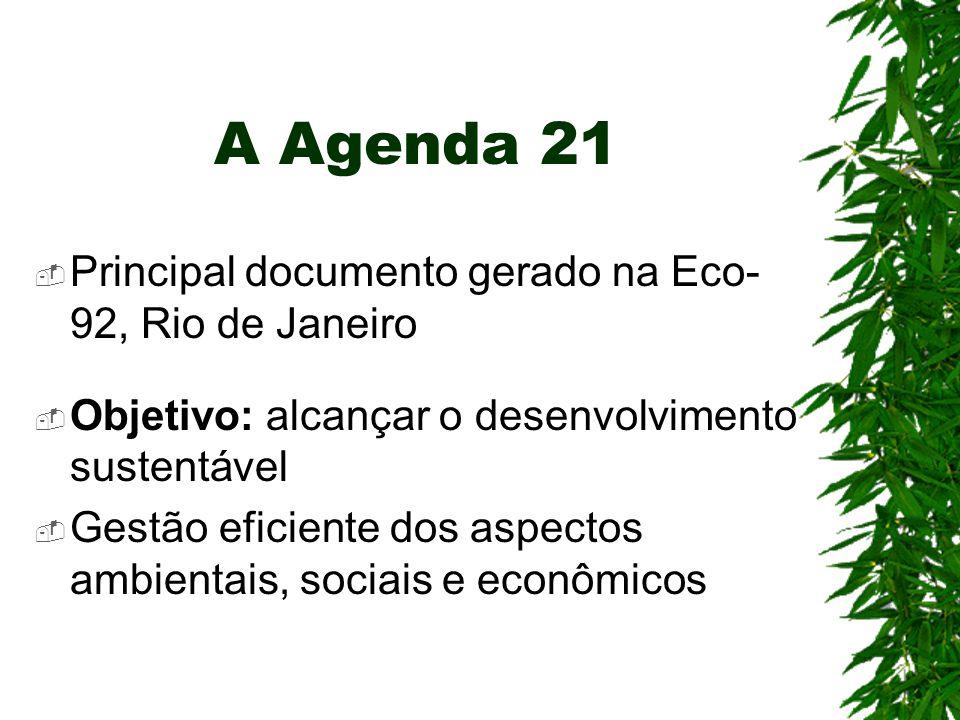 A Agenda 21  Principal documento gerado na Eco- 92, Rio de Janeiro  Objetivo: alcançar o desenvolvimento sustentável  Gestão eficiente dos aspectos