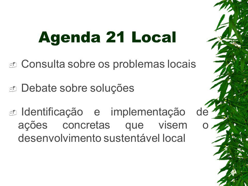 Agenda 21 Local  Consulta sobre os problemas locais  Debate sobre soluções  Identificação e implementação de ações concretas que visem o desenvolvi
