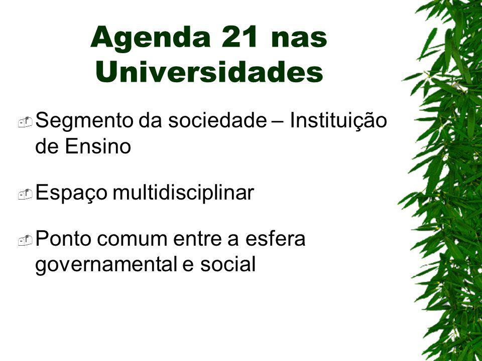 Agenda 21 nas Universidades  Segmento da sociedade – Instituição de Ensino  Espaço multidisciplinar  Ponto comum entre a esfera governamental e soc
