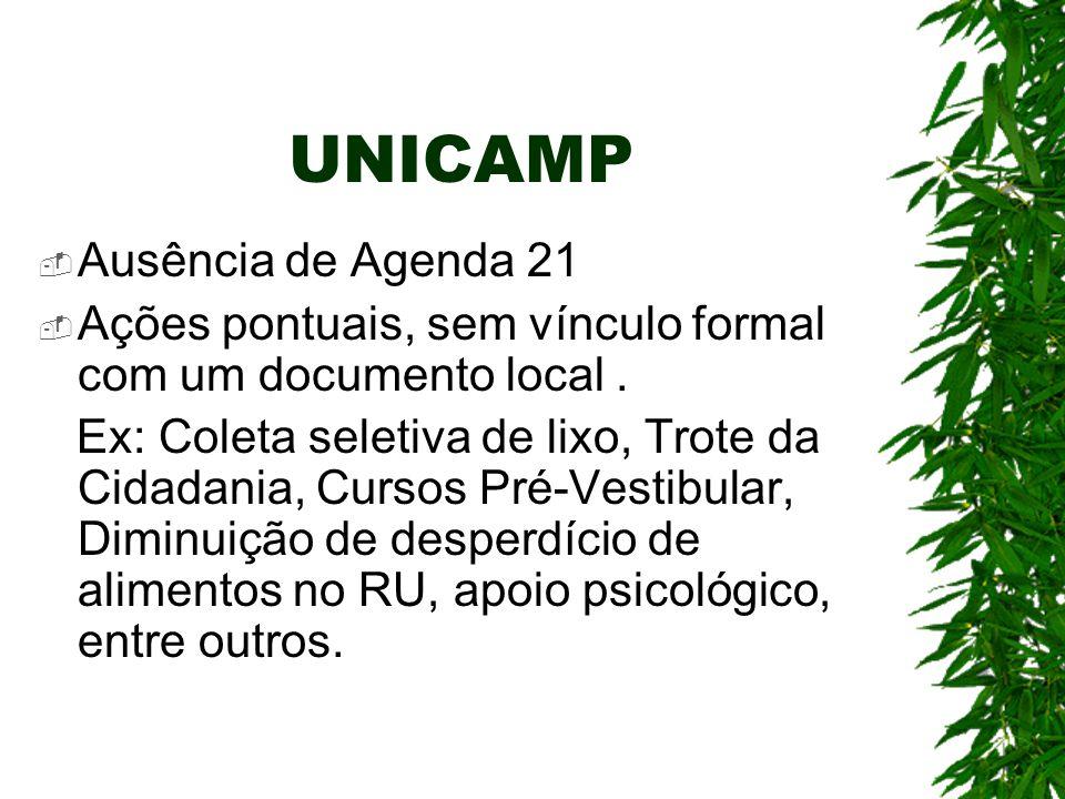 UNICAMP  Ausência de Agenda 21  Ações pontuais, sem vínculo formal com um documento local. Ex: Coleta seletiva de lixo, Trote da Cidadania, Cursos P