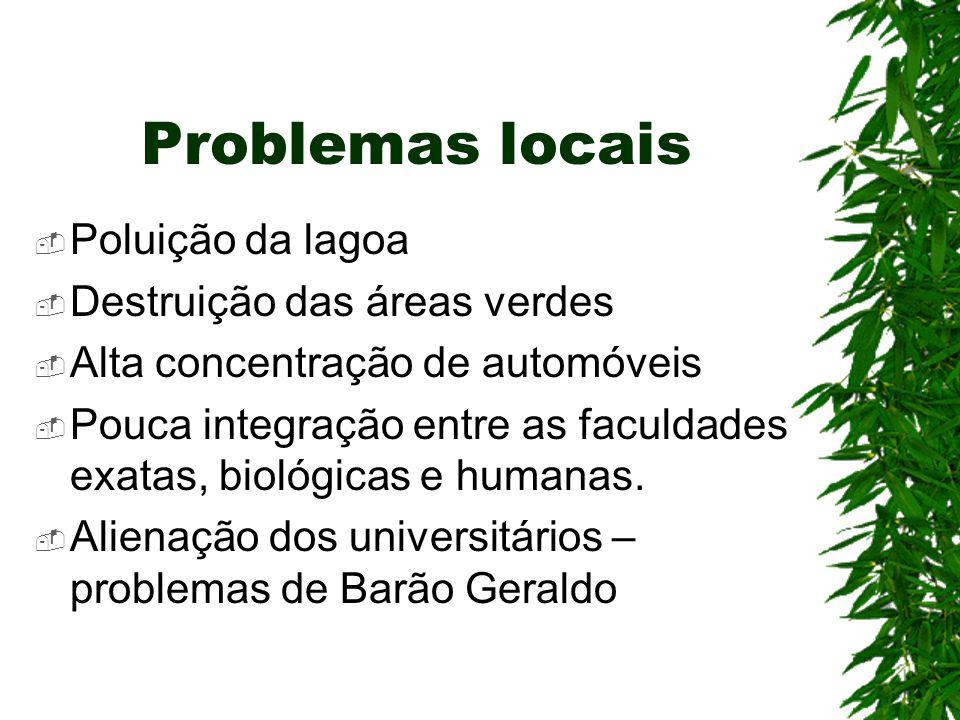 Problemas locais  Poluição da lagoa  Destruição das áreas verdes  Alta concentração de automóveis  Pouca integração entre as faculdades exatas, bi