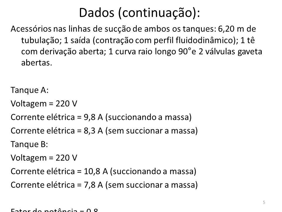 5 Dados (continuação): Acessórios nas linhas de sucção de ambos os tanques: 6,20 m de tubulação; 1 saída (contração com perfil fluidodinâmico); 1 tê c