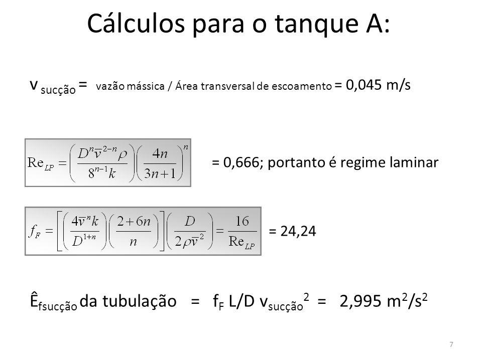 7 Cálculos para o tanque A: = 0,666; portanto é regime laminar v sucção = vazão mássica / Área transversal de escoamento = 0,045 m/s = 24,24 Ê fsucção