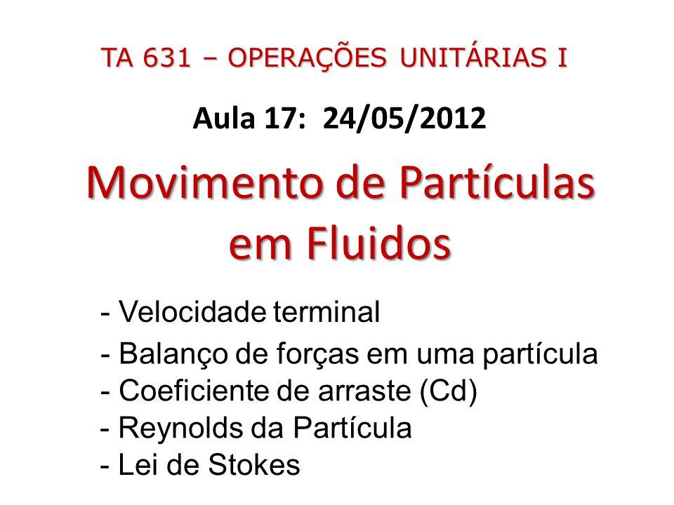 Aula 17: 24/05/2012 Movimento de Partículas em Fluidos - Balanço de forças em uma partícula - Velocidade terminal - Reynolds da Partícula - Coeficient