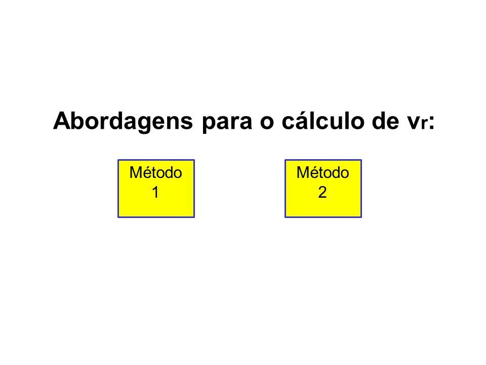 Abordagens para o cálculo de v r : Método 1 Método 2