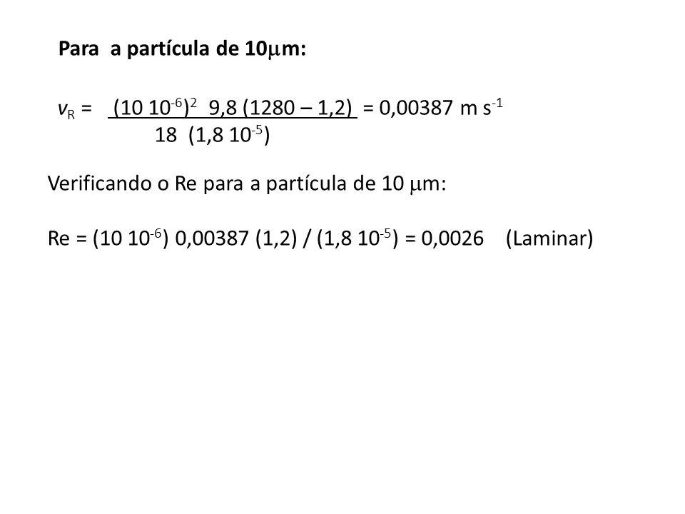 Para a partícula de 10  m: v R = (10 10 -6 ) 2 9,8 (1280 – 1,2) = 0,00387 m s -1 18 (1,8 10 -5 ) Verificando o Re para a partícula de 10  m: Re = (1