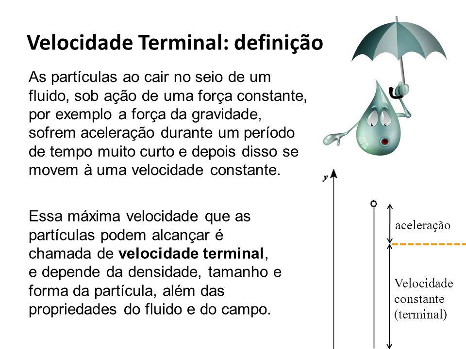 As partículas ao cair no seio de um fluido, sob ação de uma força constante, por exemplo a força da gravidade, sofrem aceleração durante um período de