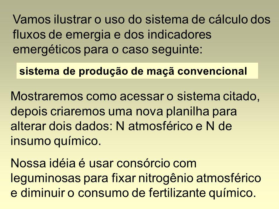 Vamos ilustrar o uso do sistema de cálculo dos fluxos de emergia e dos indicadores emergéticos para o caso seguinte: sistema de produção de maçã convencional Mostraremos como acessar o sistema citado, depois criaremos uma nova planilha para alterar dois dados: N atmosférico e N de insumo químico.