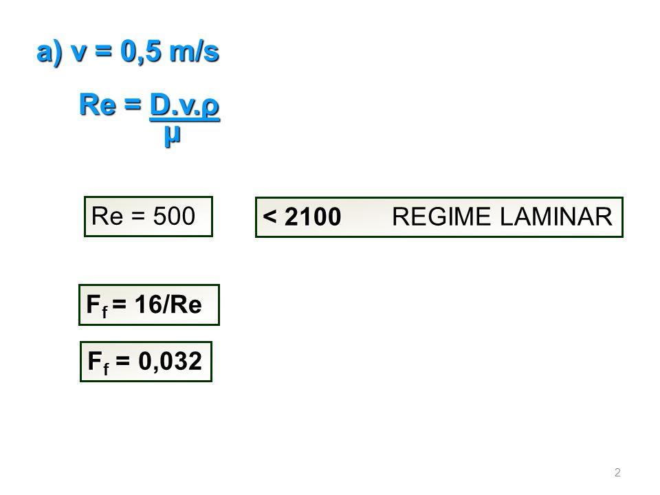 Re = D.v.ρ μ a) v = 0,5 m/s Re = 500 < 2100 REGIME LAMINAR F f = 16/Re F f = 0,032 2