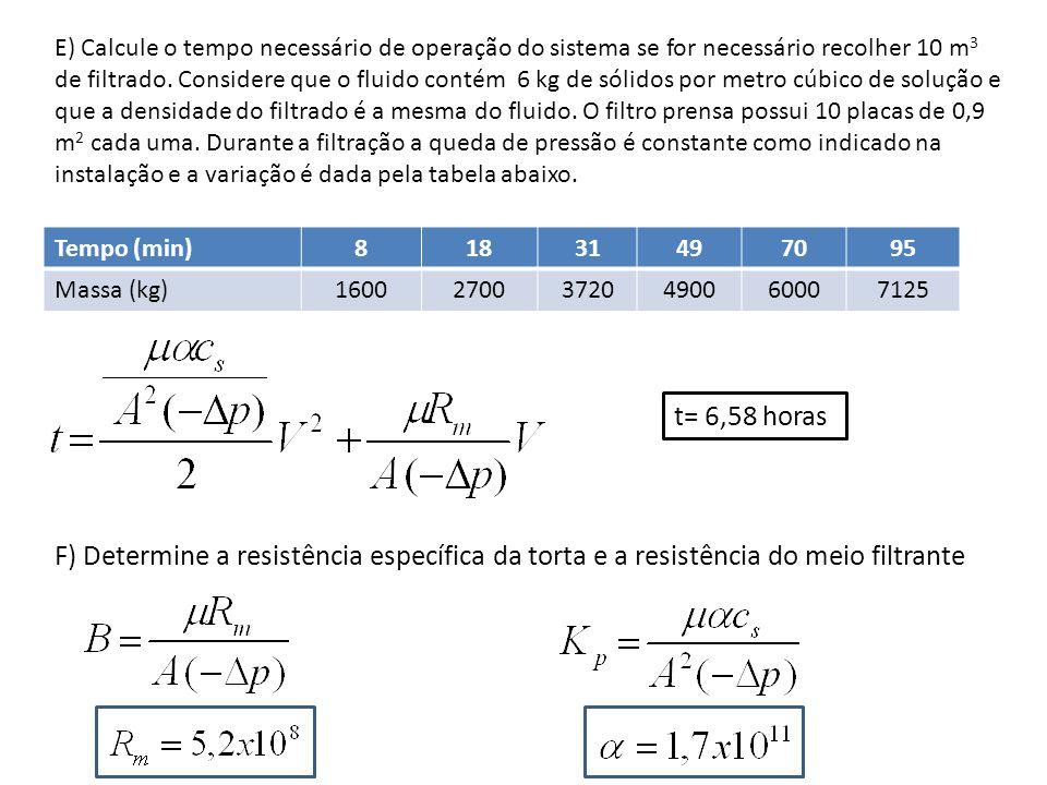 E) Calcule o tempo necessário de operação do sistema se for necessário recolher 10 m 3 de filtrado.