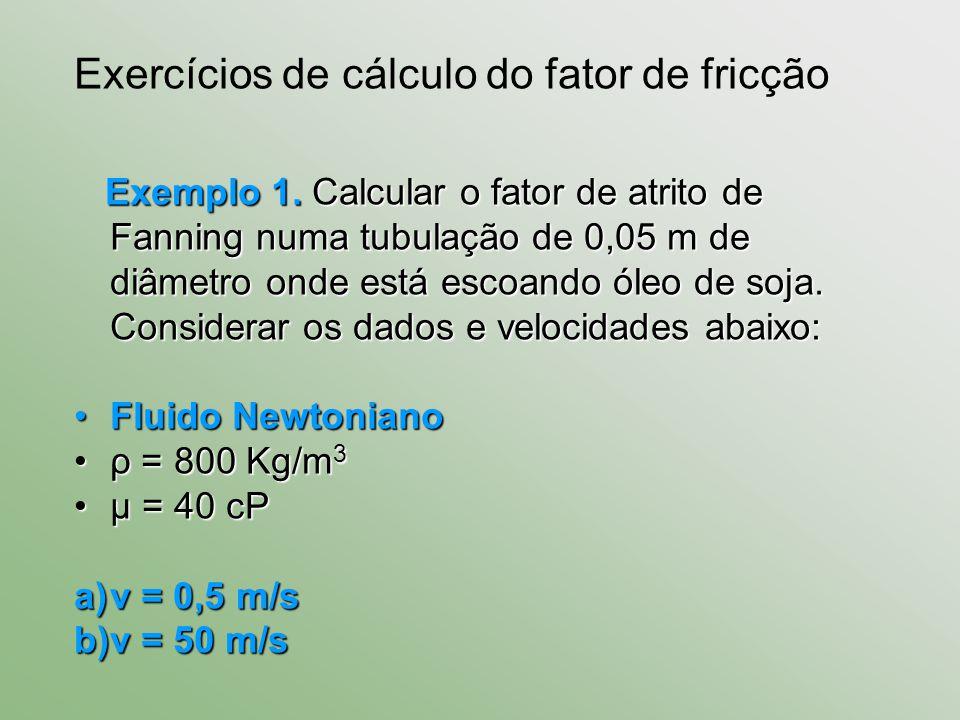 Exemplo 1. Calcular o fator de atrito de Fanning numa tubulação de 0,05 m de diâmetro onde está escoando óleo de soja. Considerar os dados e velocidad