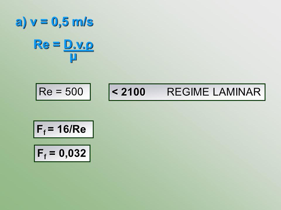 Re = D.v.ρ μ a) v = 0,5 m/s Re = 500 < 2100 REGIME LAMINAR F f = 16/Re F f = 0,032