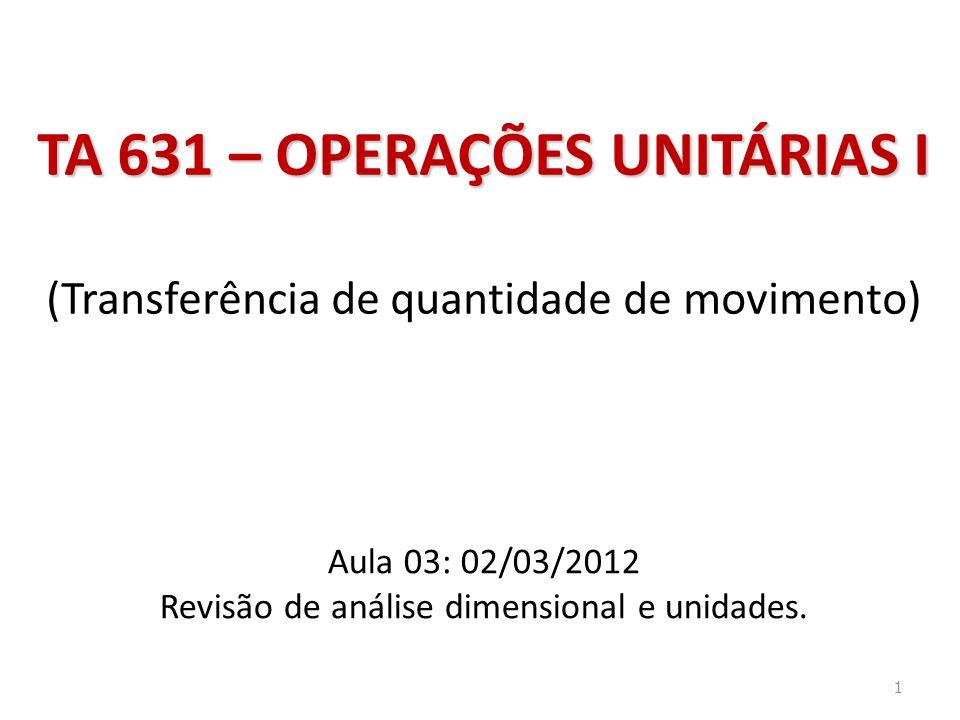 TA 631 – OPERAÇÕES UNITÁRIAS I TA 631 – OPERAÇÕES UNITÁRIAS I (Transferência de quantidade de movimento) Aula 03: 02/03/2012 Revisão de análise dimensional e unidades.