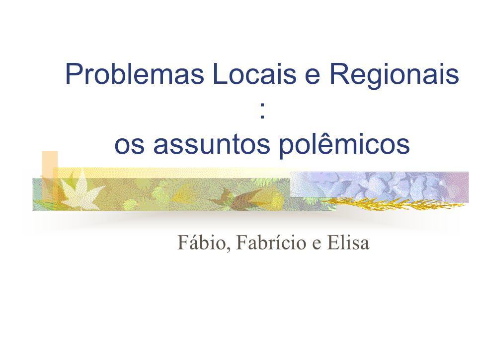 Problemas Locais e Regionais : os assuntos polêmicos Fábio, Fabrício e Elisa