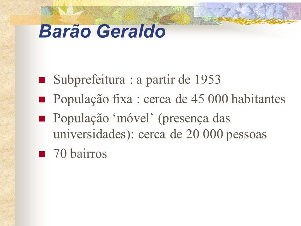 Barão Geraldo Subprefeitura : a partir de 1953 População fixa : cerca de 45 000 habitantes População 'móvel' (presença das universidades): cerca de 20 000 pessoas 70 bairros