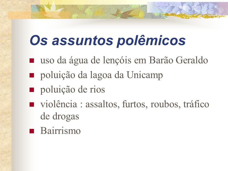 Os assuntos polêmicos uso da água de lençóis em Barão Geraldo poluição da lagoa da Unicamp poluição de rios violência : assaltos, furtos, roubos, tráfico de drogas Bairrismo
