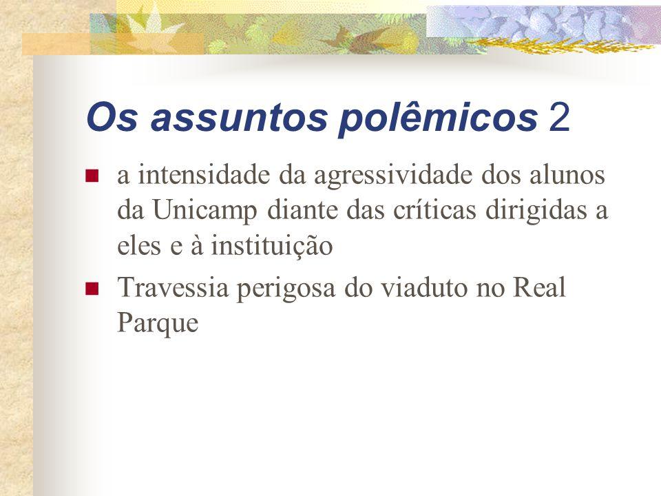 Os assuntos polêmicos 2 a intensidade da agressividade dos alunos da Unicamp diante das críticas dirigidas a eles e à instituição Travessia perigosa do viaduto no Real Parque