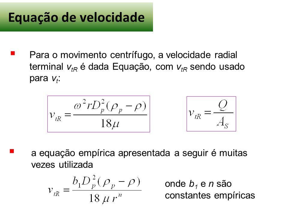 Equação de velocidade  Para o movimento centrífugo, a velocidade radial terminal v tR é dada Equação, com v tR sendo usado para v t :  a equação empírica apresentada a seguir é muitas vezes utilizada onde b 1 e n são constantes empíricas