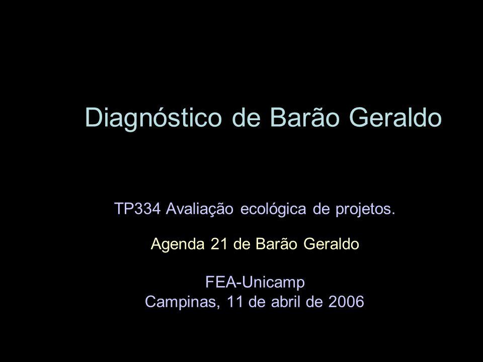 Diagnóstico de Barão Geraldo TP334 Avaliação ecológica de projetos. Agenda 21 de Barão Geraldo FEA-Unicamp Campinas, 11 de abril de 2006