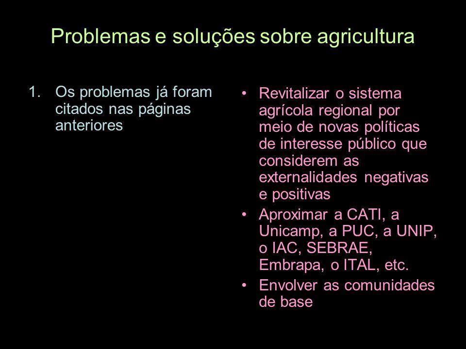 Problemas e soluções sobre agricultura 1.Os problemas já foram citados nas páginas anteriores Revitalizar o sistema agrícola regional por meio de nova