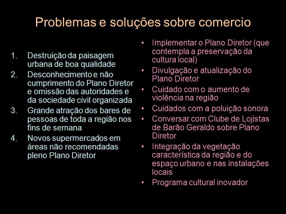 Problemas e soluções sobre comercio 1.Destruição da paisagem urbana de boa qualidade 2.Desconhecimento e não cumprimento do Plano Diretor e omissão da