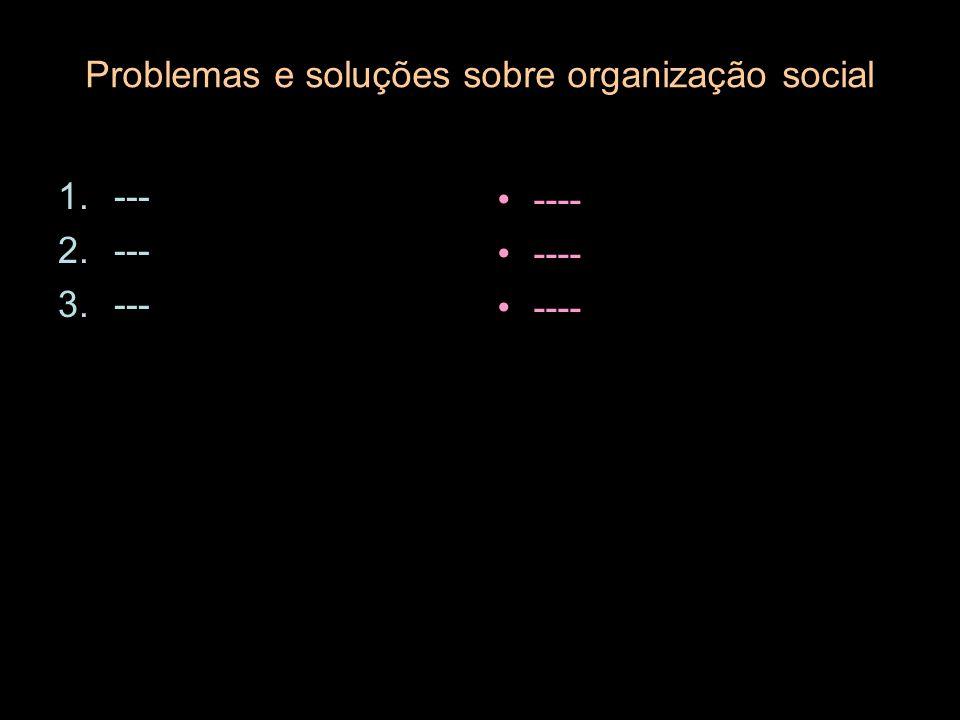 Problemas e soluções sobre organização social 1.--- 2.--- 3.--- ----