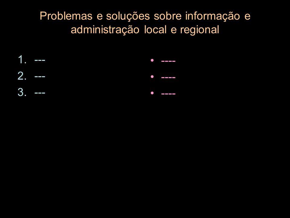 Problemas e soluções sobre informação e administração local e regional 1.--- 2.--- 3.--- ----