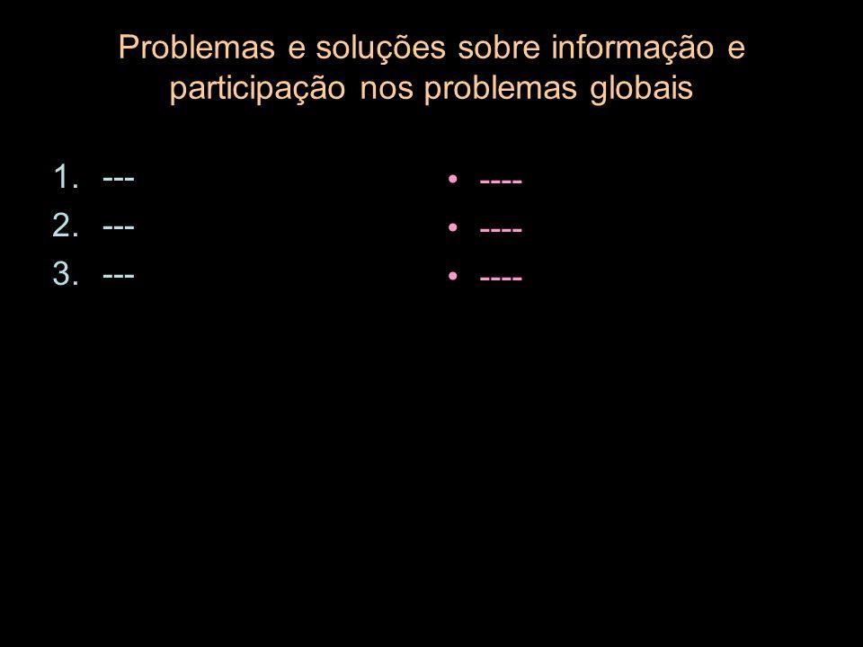 Problemas e soluções sobre informação e participação nos problemas globais 1.--- 2.--- 3.--- ----