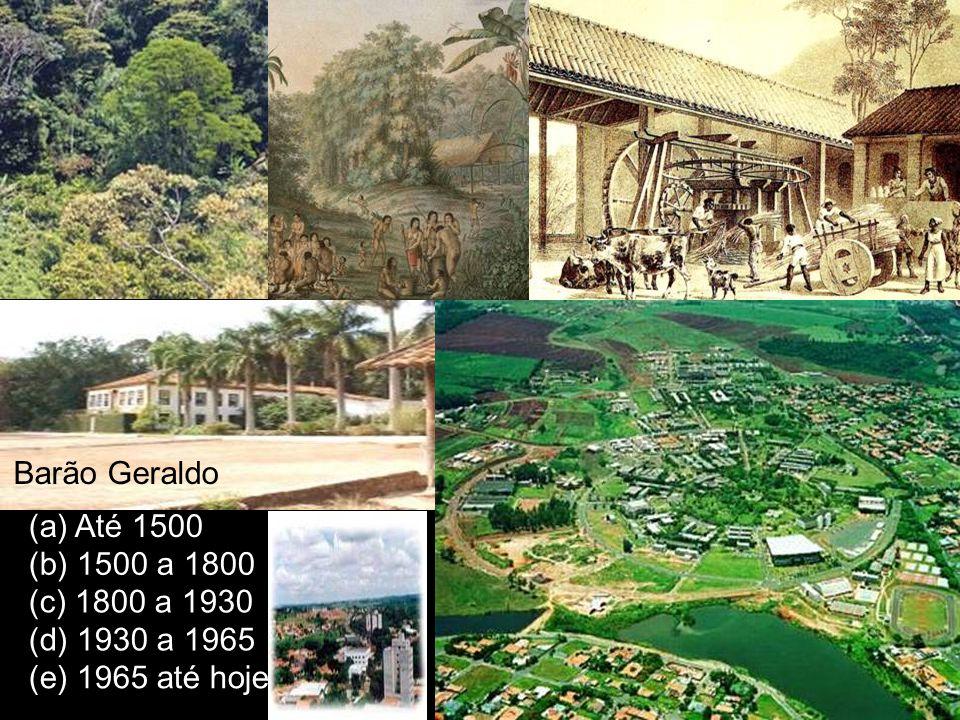 (b) 1500 a 1800 (c) 1800 a 1930 (e) 1965 até hoje (d) 1930 a 1965 (a) Até 1500 Barão Geraldo