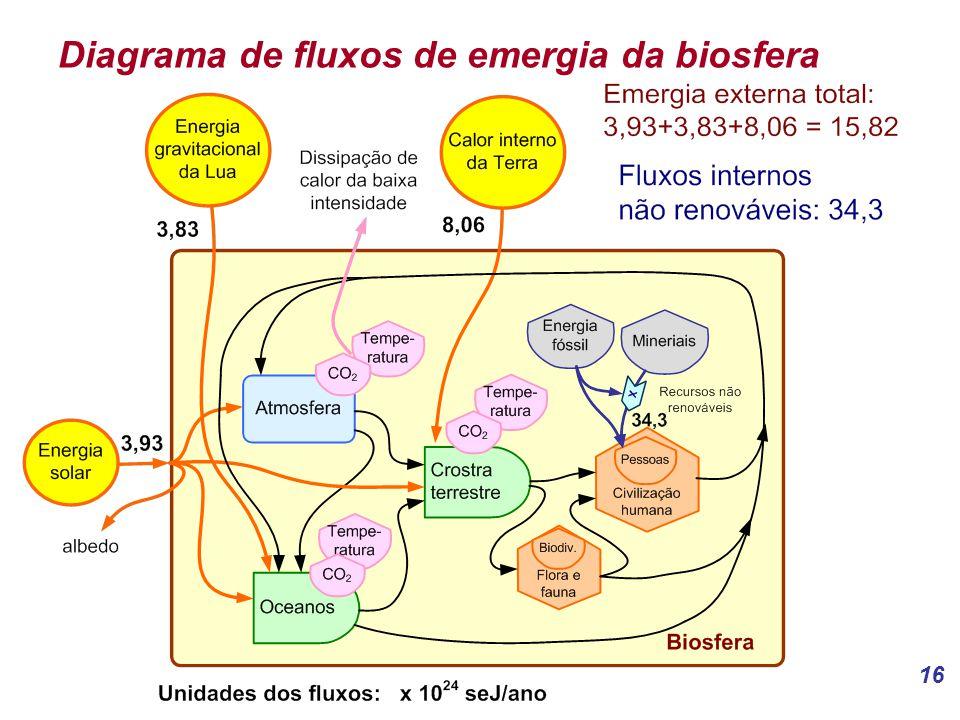 16 Diagrama de fluxos de emergia da biosfera