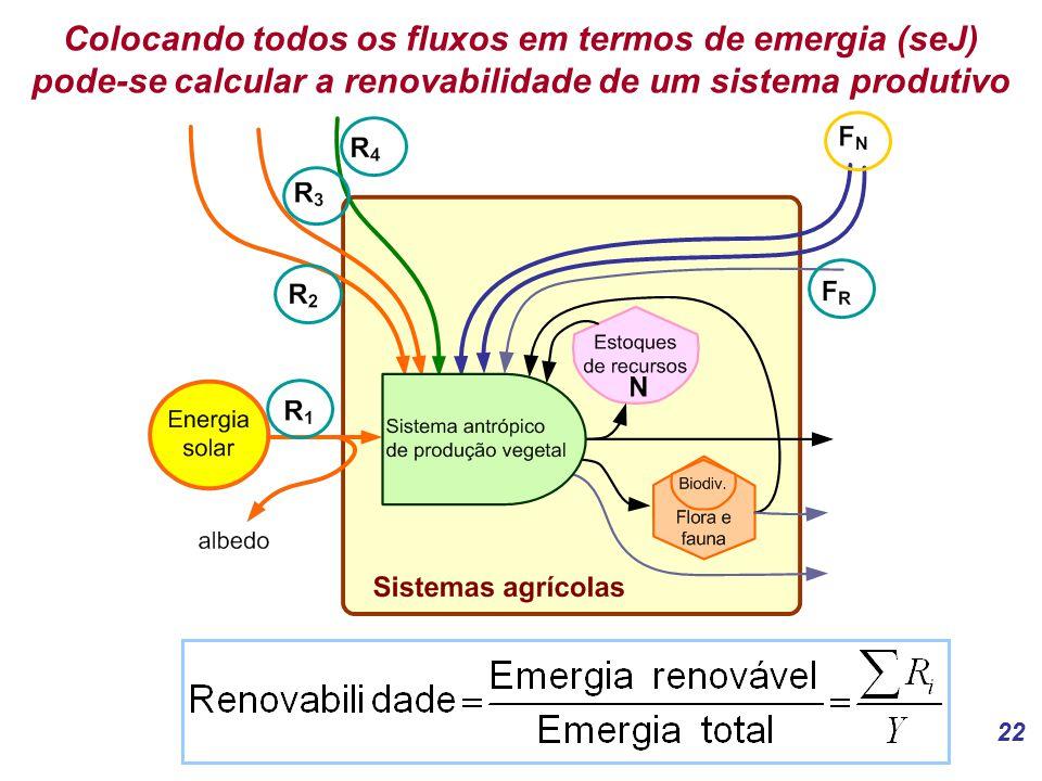 22 Colocando todos os fluxos em termos de emergia (seJ) pode-se calcular a renovabilidade de um sistema produtivo