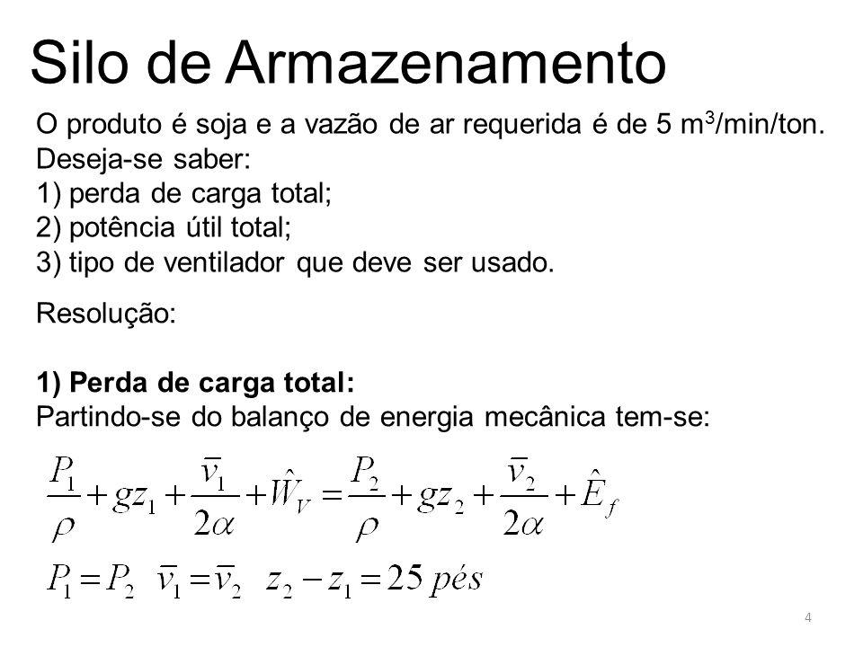 Silo de Armazenamento f) na chapa perfurada: Aqui usaremos a seguinte fórmula: 15