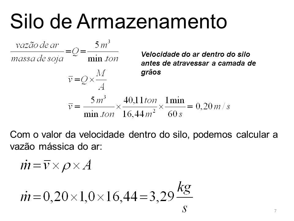 g) na camada de grãos: Para o cálculo da energia friccional desta etapa usaremos o gráfico onde entramos com o valor de Gráfico: Silo de Armazenamento Para a curva do produto em questão achamos o valor de 18