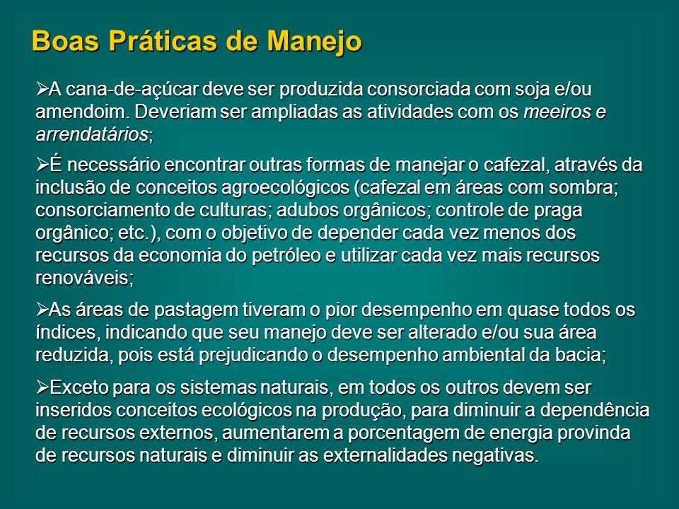 Boas Práticas de Manejo  A cana-de-açúcar deve ser produzida consorciada com soja e/ou amendoim.