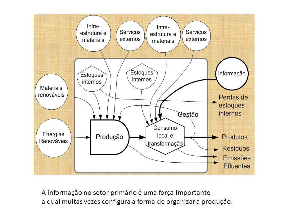 A informação no setor primário é uma força importante a qual muitas vezes configura a forma de organizar a produção.