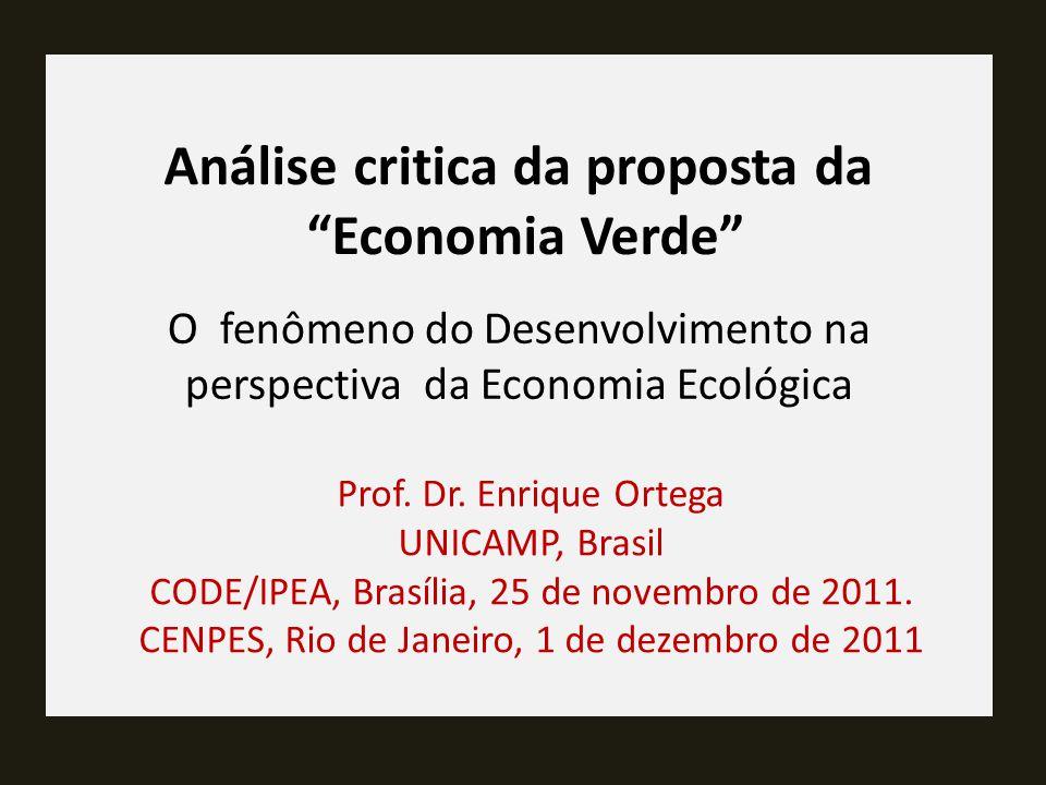 Análise critica da proposta da Economia Verde Prof.