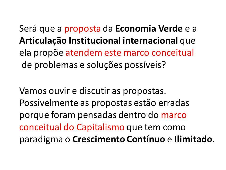 Será que a proposta da Economia Verde e a Articulação Institucional internacional que ela propõe atendem este marco conceitual de problemas e soluções possíveis.