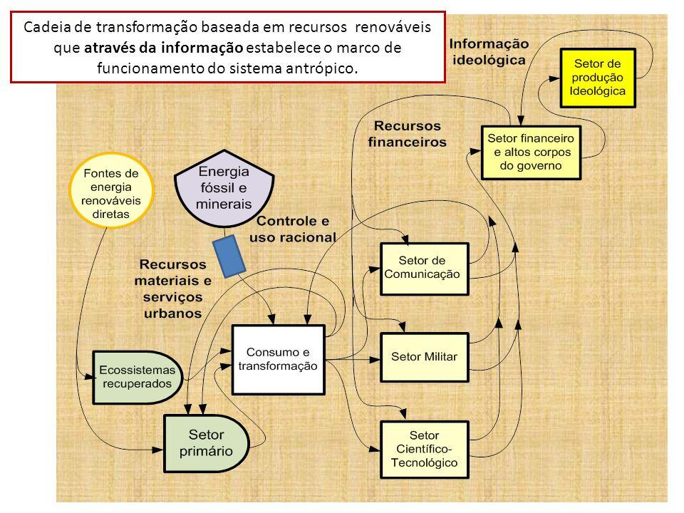 Cadeia de transformação baseada em recursos renováveis que através da informação estabelece o marco de funcionamento do sistema antrópico.