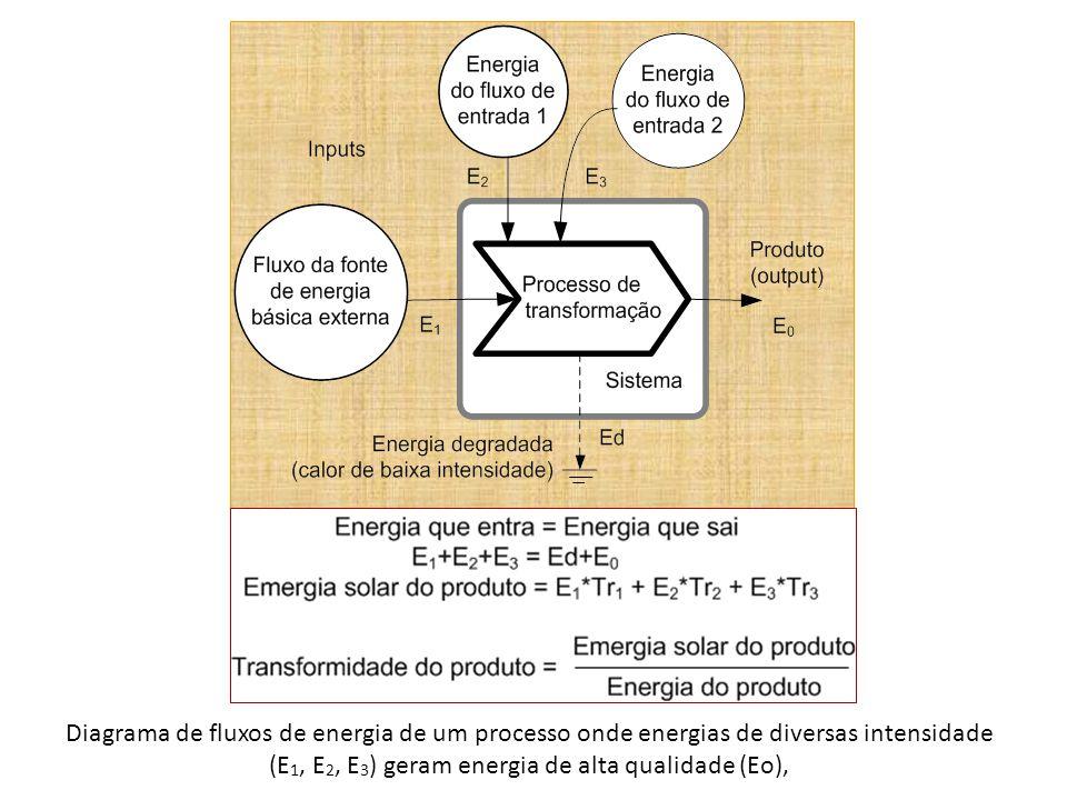 Diagrama de fluxos de energia de um processo onde energias de diversas intensidade (E 1, E 2, E 3 ) geram energia de alta qualidade (Eo),